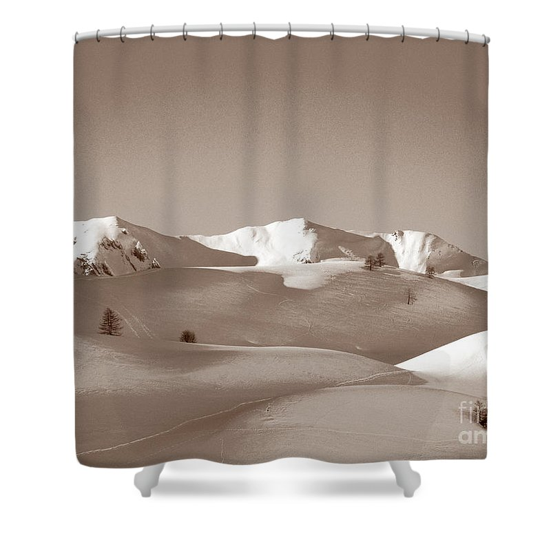 Antique Shower Curtain featuring the photograph Sepia Toned Snowy Mountain by Stefania Levi