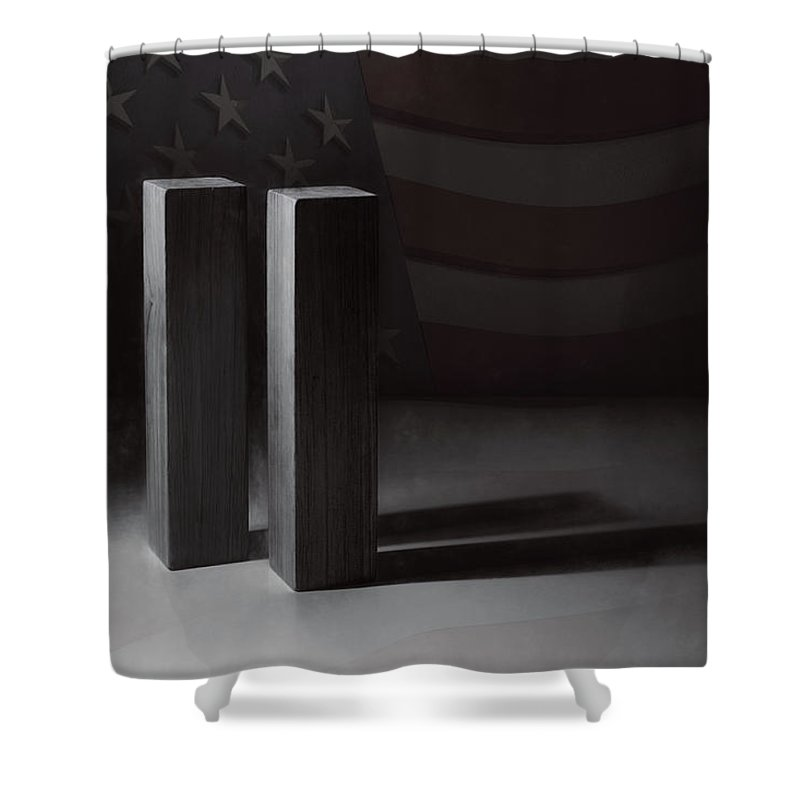 World Trade Center Shower Curtain featuring the photograph September 11, 2001 - Never Forget by Scott Norris
