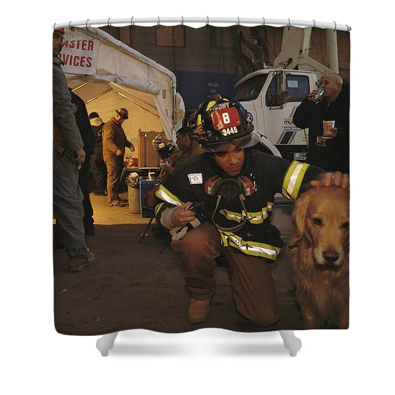 Animals Shower Curtain featuring the photograph September 11th Rescue Workers Receive by Ira Block
