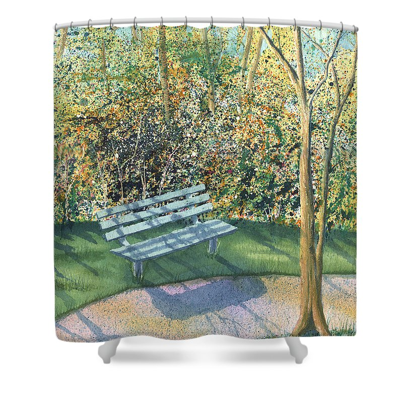 Autumn Trees Shower Curtain featuring the painting September Afternoon by Lynn Quinn
