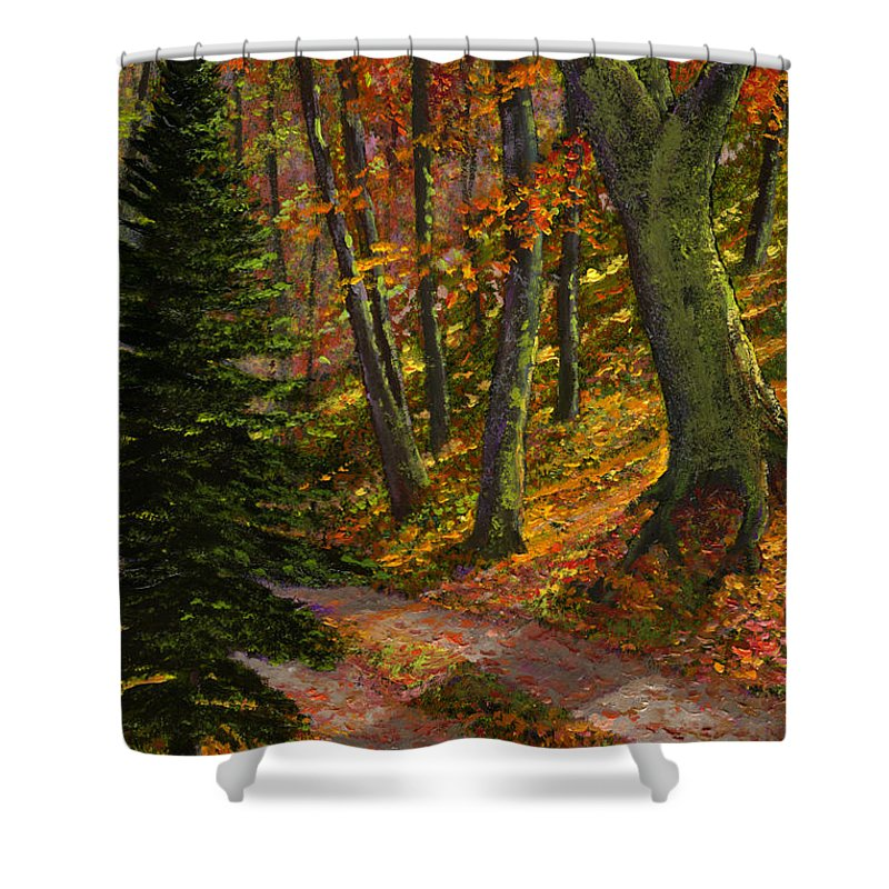 Road In The Woods Shower Curtain featuring the painting September Road by Frank Wilson