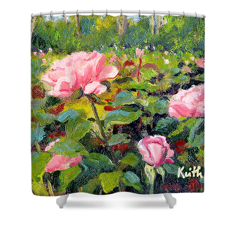 Impressionism Shower Curtain featuring the painting September Roses by Keith Burgess