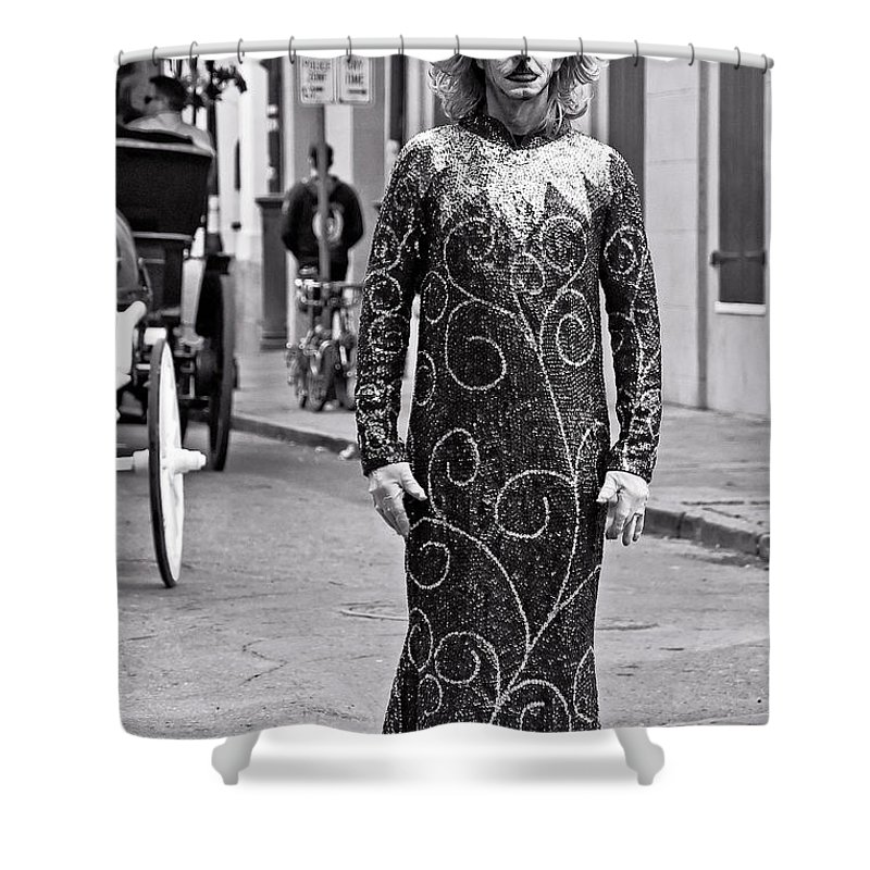 Photography Shower Curtain featuring the photograph Sequined Mime In Black And White by Kathleen K Parker