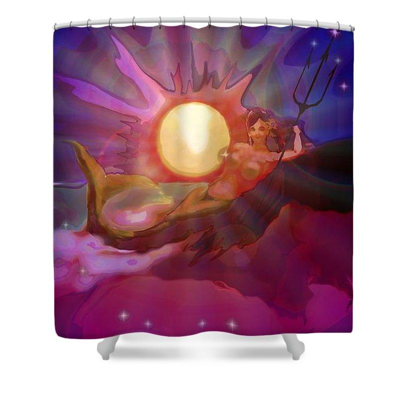 Sera Shower Curtain featuring the digital art Sera Maroon by Mark Kleinschnitz
