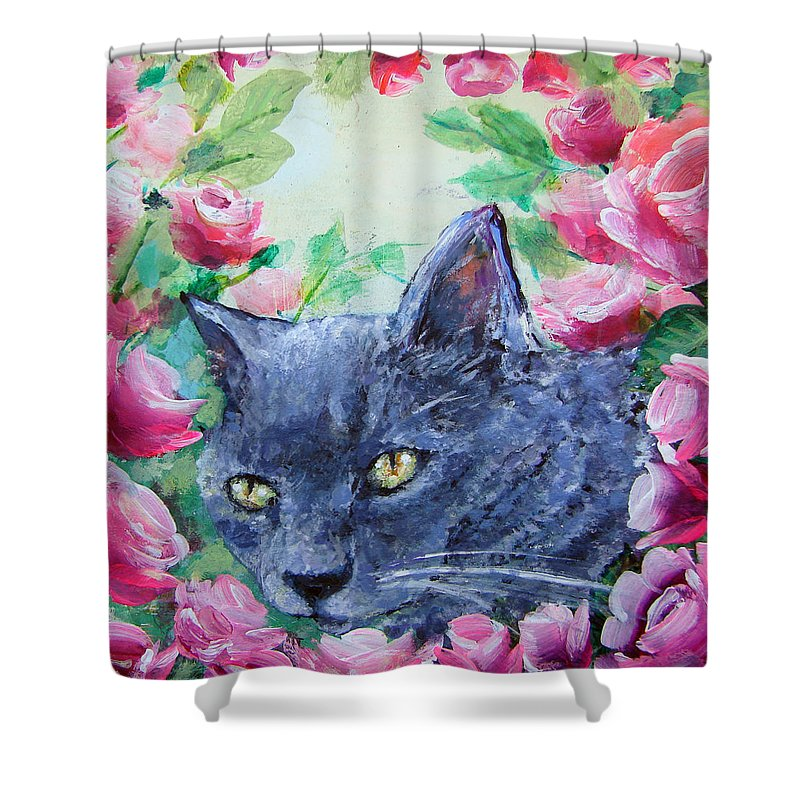 Cat Shower Curtain featuring the painting Serafina by Ashleigh Dyan Bayer