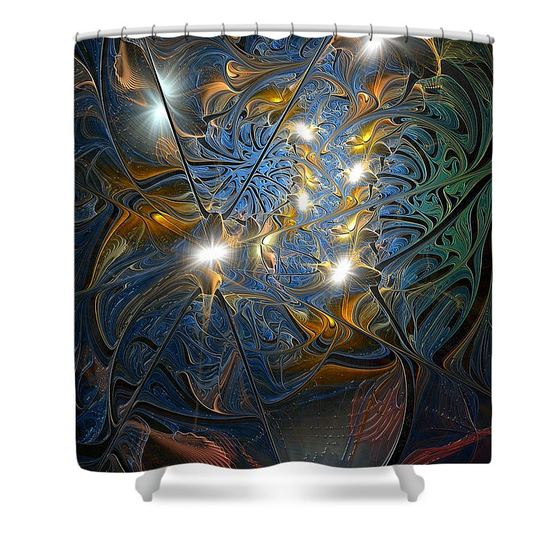 Abstract Shower Curtain featuring the digital art Serendipitous Trope by Casey Kotas