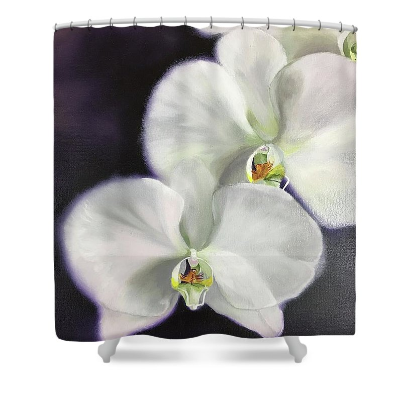 Orchid Shower Curtain featuring the painting Serene by Nancy Breiman