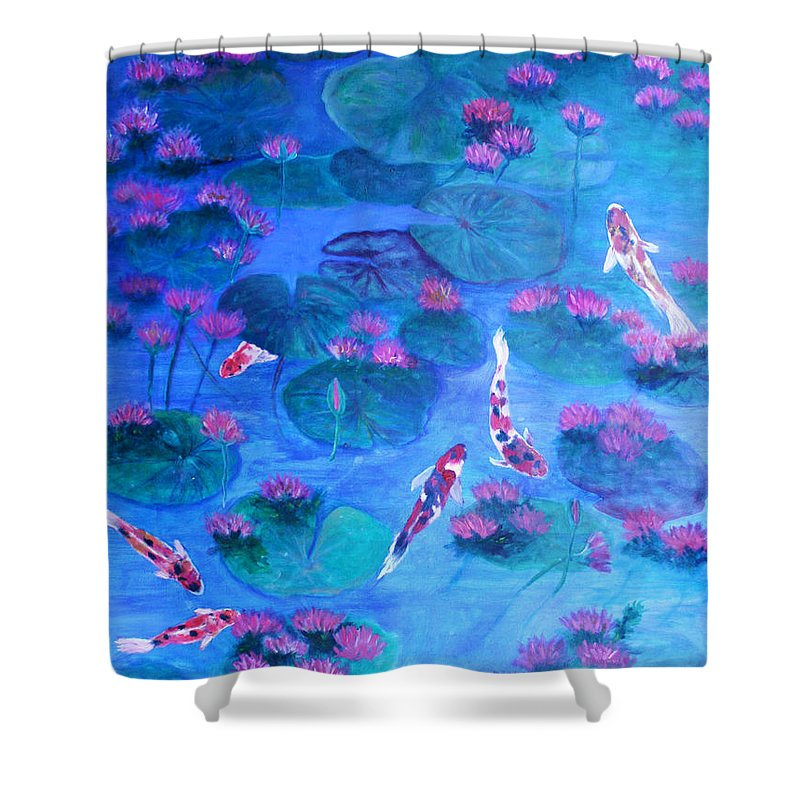 Lily Pads Shower Curtain featuring the painting Serene Pond by Ben Kiger
