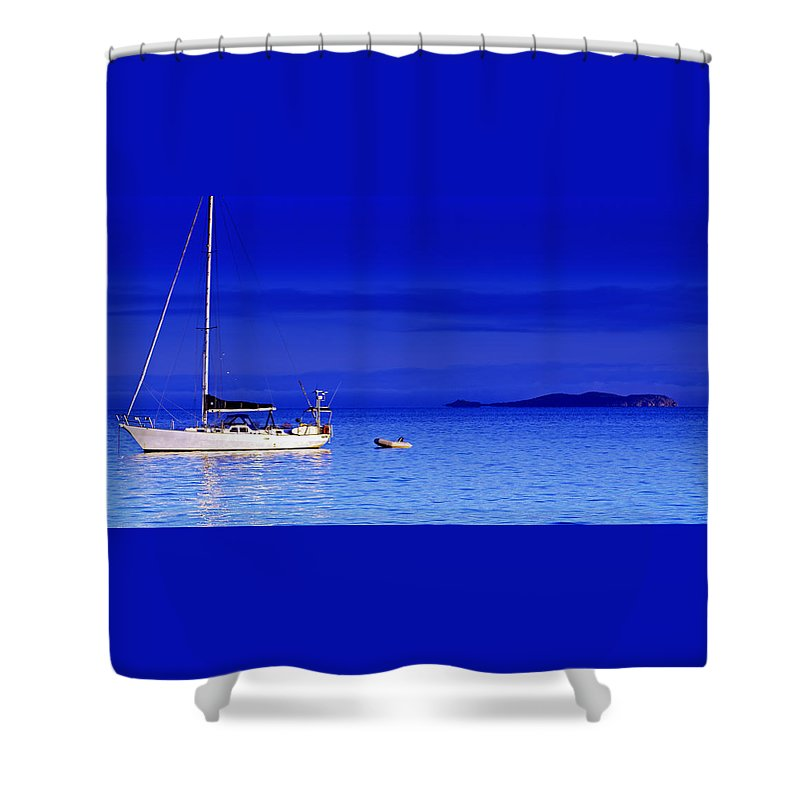 Transportation. Boats Shower Curtain featuring the photograph Serene Seas by Holly Kempe