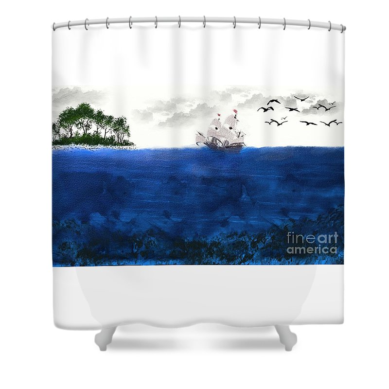 Ocean Shower Curtain featuring the painting Serenity At Sea by Rabecca Primeau