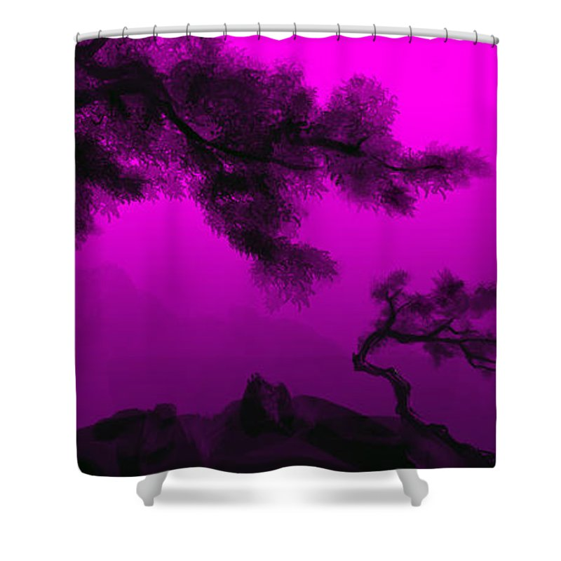 Japanese; Sunset; Mountains; Trees; Rising; Sun; Contemporary; Purple; Pink;sunrise; Sunset Shower Curtain featuring the painting Serenity by James Christopher Hill