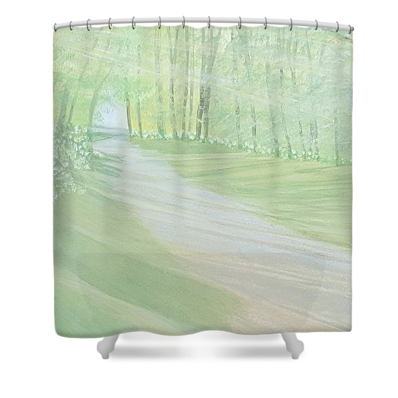 Green Shower Curtain featuring the painting Serenity by Joanne Perkins