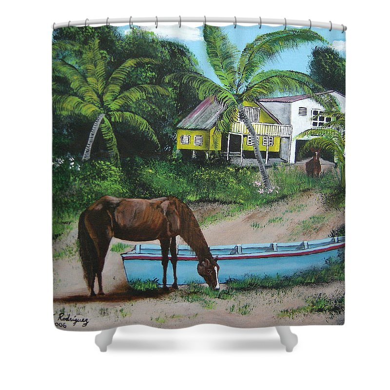 Aguadilla Shower Curtain featuring the painting Serenity by Luis F Rodriguez