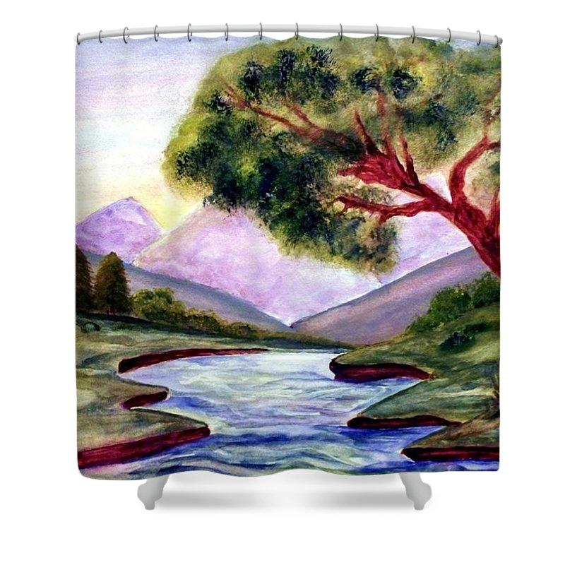 Landscape Shower Curtain featuring the painting Serenity by Robin Monroe