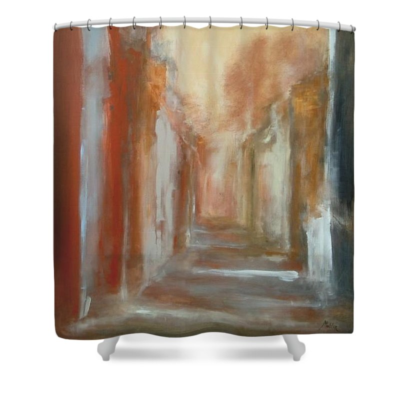 Abstract Shower Curtain featuring the painting Serenity by Rome Matikonyte