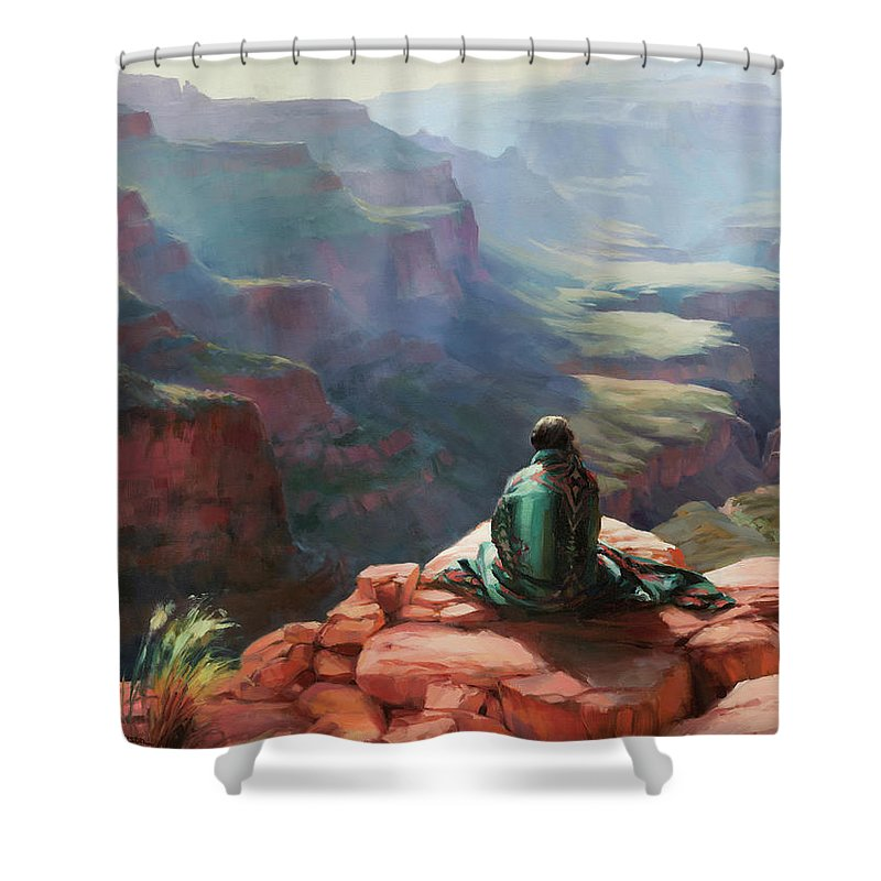 Southwest Shower Curtain featuring the painting Serenity by Steve Henderson