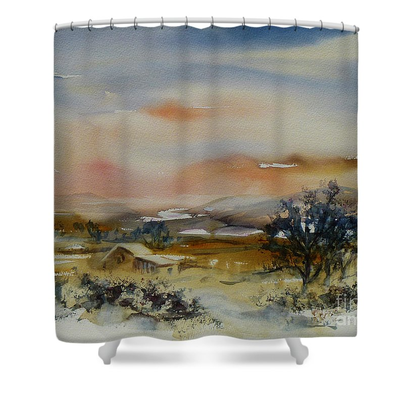 Landscape Shower Curtain featuring the painting Serenity by Xueling Zou