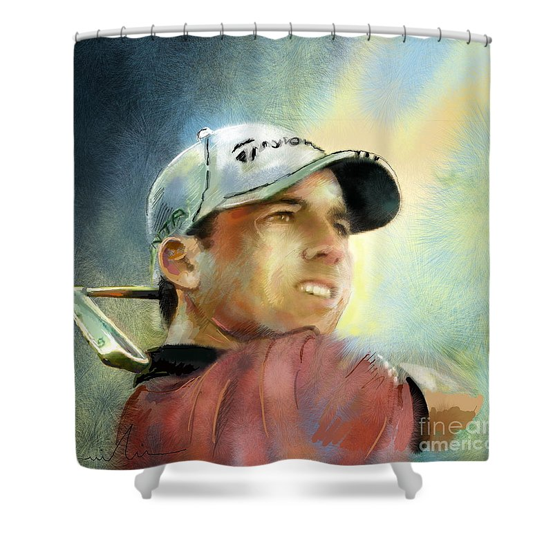 Golf Painting Golfart Castello Masters Spian Sport Shower Curtain featuring the painting Sergio Garcia In The Castello Masters by Miki De Goodaboom