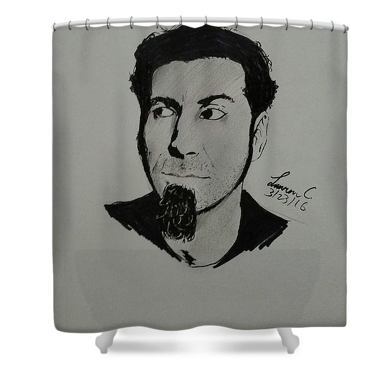 Serj Shower Curtain featuring the drawing Serj Tankian by Lauren Champion