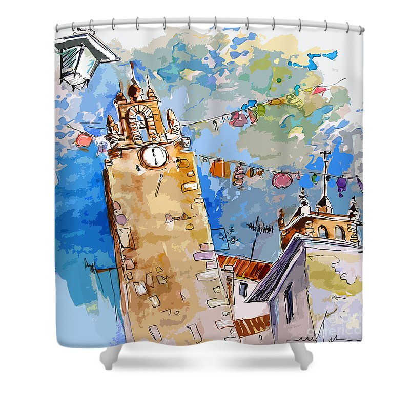 Painting Of Serpa Alentajo Portugal Travel Sketch Shower Curtain featuring the painting Serpa Portugal 08 Bis by Miki De Goodaboom