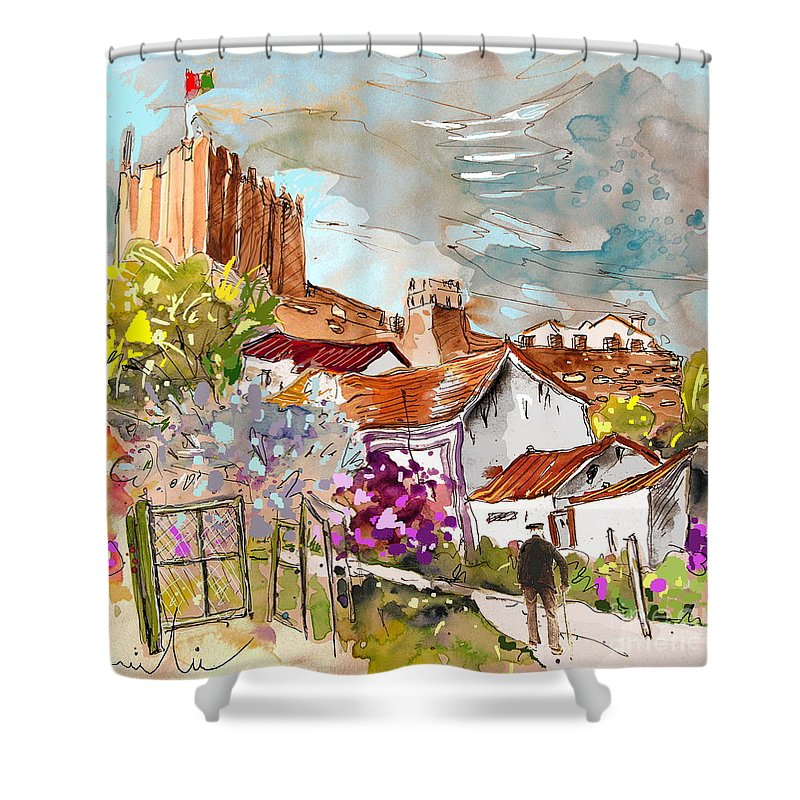 Water Colour Painting Serpa Portugal Shower Curtain featuring the painting Serpa Portugal 26 by Miki De Goodaboom