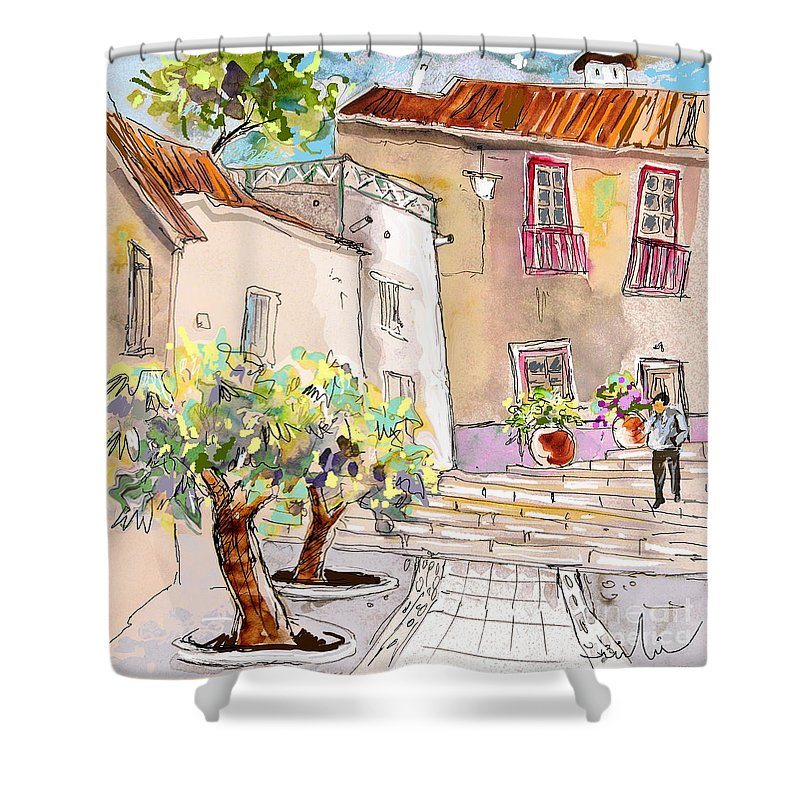 Portugal Paintings Shower Curtain featuring the painting Serpa Portugal 36 by Miki De Goodaboom