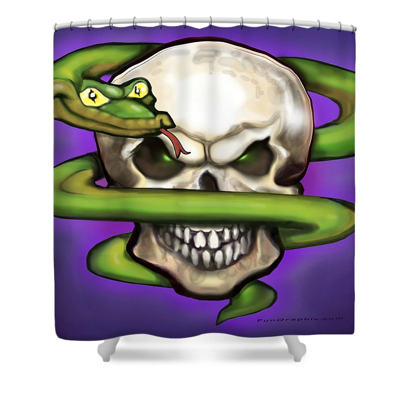 Serpent Shower Curtain featuring the digital art Serpent Evil Skull by Kevin Middleton
