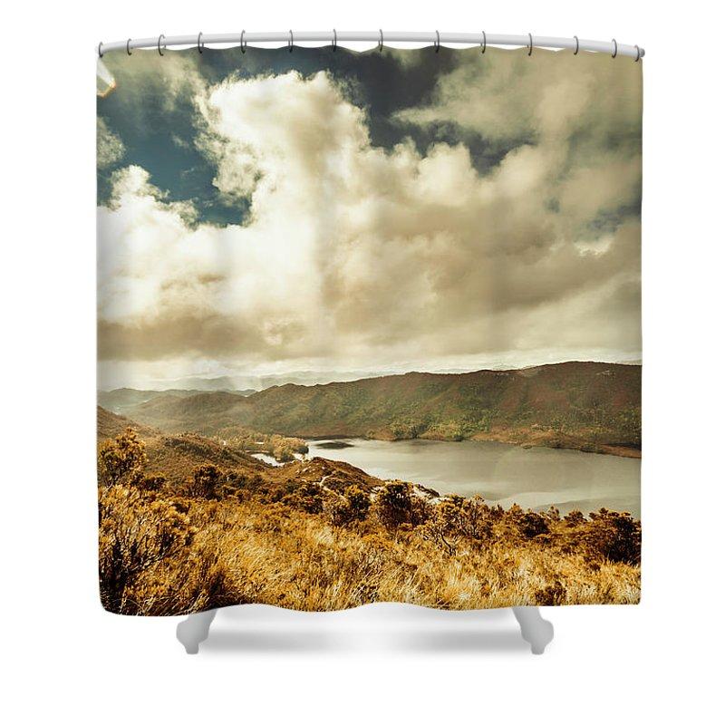 Serpentine Dam Shower Curtain featuring the photograph Serpentine Dam Tasmania by Jorgo Photography - Wall Art Gallery
