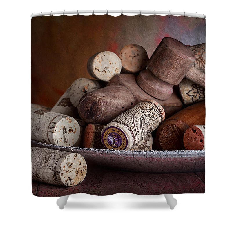 Aged Shower Curtain featuring the photograph Served - Wine Taps And Corks by Tom Mc Nemar