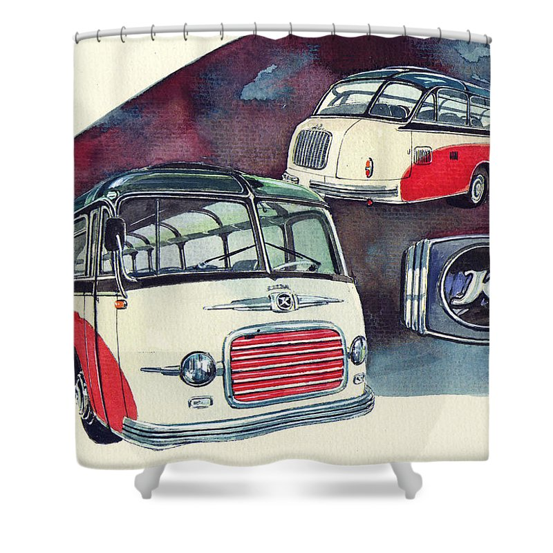 Setra Bus Kassbohrer S11 (1959) Shower Curtain featuring the painting Setra Bus Kassbohrer S11 by Yoshiharu Miyakawa