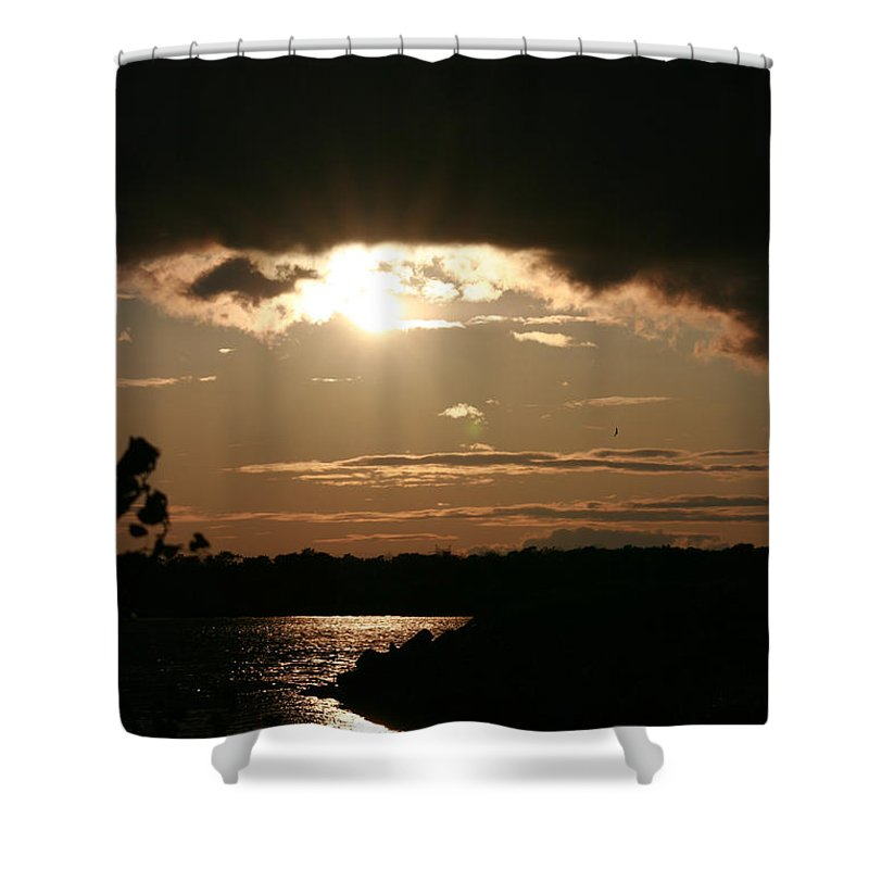 Sunset Lake Water Trees Rocks Shore Clouds Shower Curtain featuring the photograph Setting Sun by Andrea Lawrence