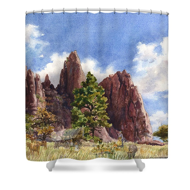 Pioneers Painting Shower Curtain featuring the painting Settler's Park, Boulder, Colorado by Anne Gifford