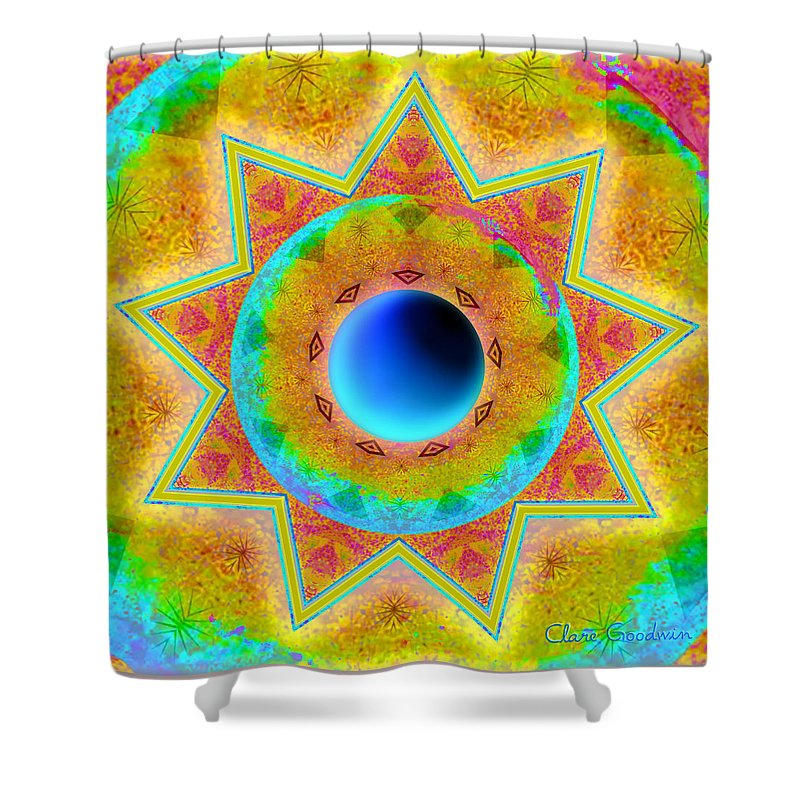 Mandala Shower Curtain featuring the digital art Settling Into Mystery by Clare Goodwin
