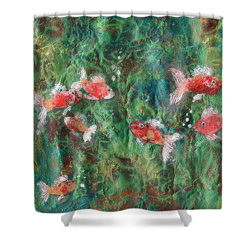 Acrylic Shower Curtain featuring the painting Seven Little Fishies by Maria Watt