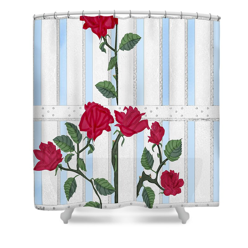 Roses Shower Curtain featuring the painting Seven Roses For Mary by Anne Norskog