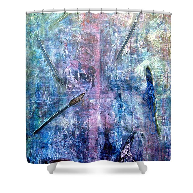 Abstract Shower Curtain featuring the painting Seven Zippers by Nancy Mueller