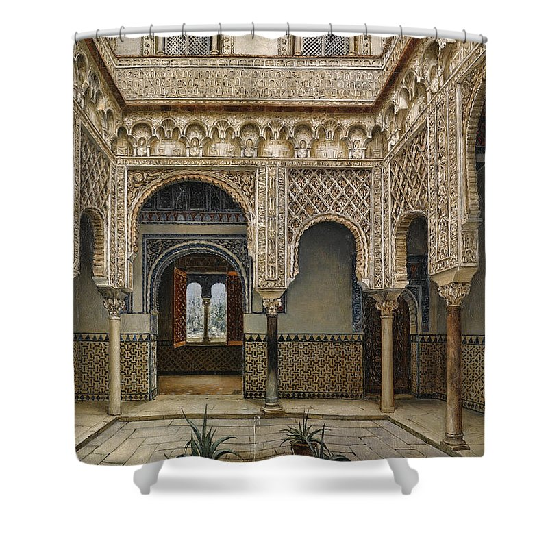 Manuel López Cantero (spanish Shower Curtain featuring the painting Sevilla by MotionAge Designs