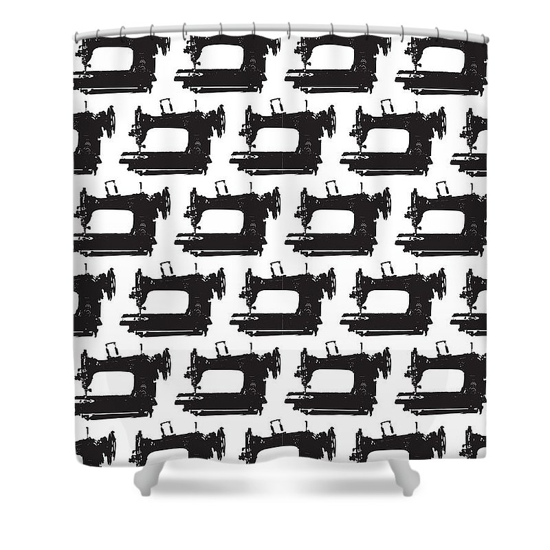 Vintage Sewing Machine Shower Curtain featuring the digital art Sew Vintage by Alana Gillihan