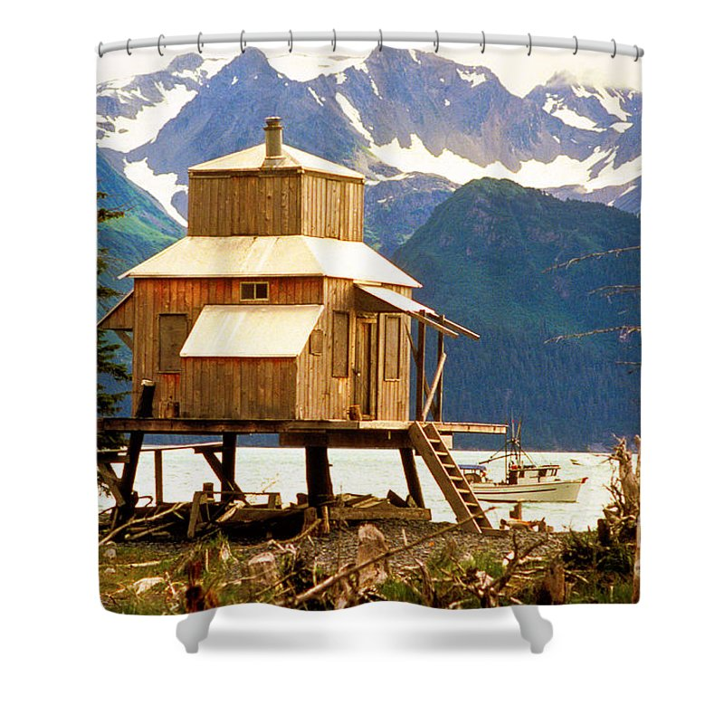 Alaska Shower Curtain featuring the photograph Seward Alaska House Of Stilts by James BO Insogna