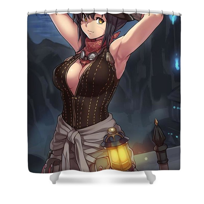 Girl Shower Curtain Featuring The Digital Art Sexy Cat Girl Fantasy By Maax