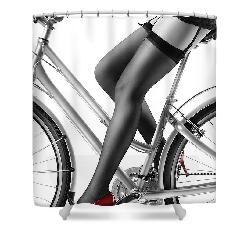 Bicycle Shower Curtain Featuring The Photograph Sexy Woman In Red High Heels And Stockings Riding Bike