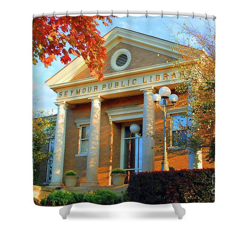 Seymour Shower Curtain featuring the photograph Seymour Public Library by Jost Houk
