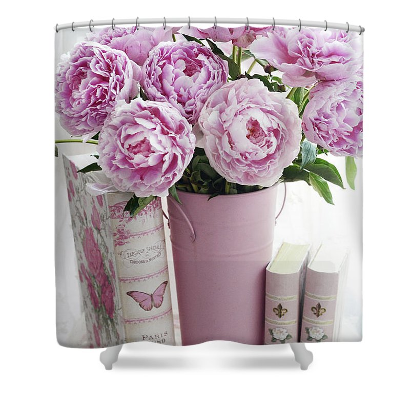 Shabby Chic Pink Peonies Books Print And Home Decor Pink Peonies
