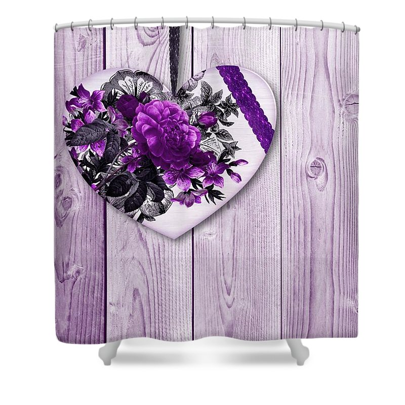 Shabby Chic Purple Heart Florals Lilac Wood Background Flowers Flora Botanical Botanique Lilacs Shower Curtain Featuring