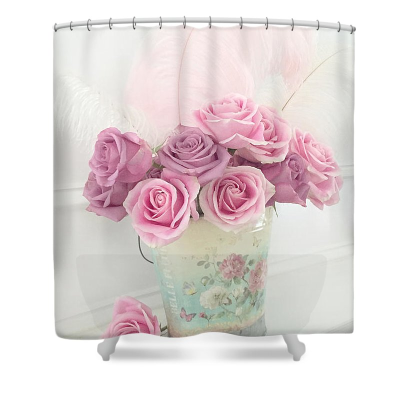 Cottage Chic Pink Flowers Shower Curtain Featuring The Photograph Shabby Romantic Bucket Of Roses