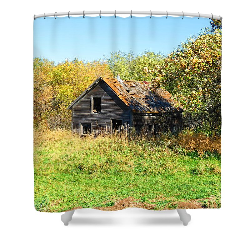 Shack Shower Curtain featuring the photograph Shack In Fall Colours by Creations by Shaunna Lynn