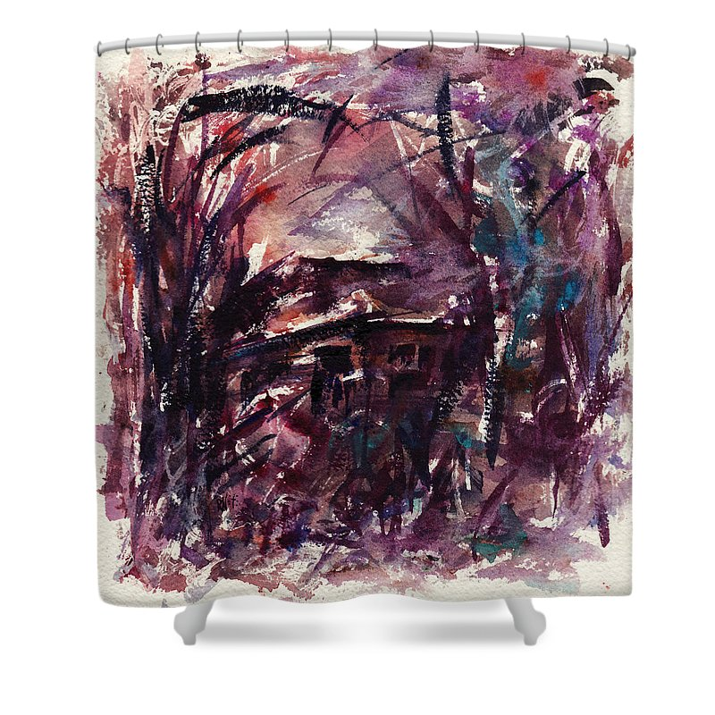 Shack Shower Curtain featuring the painting Shack Second Movement by Rachel Christine Nowicki