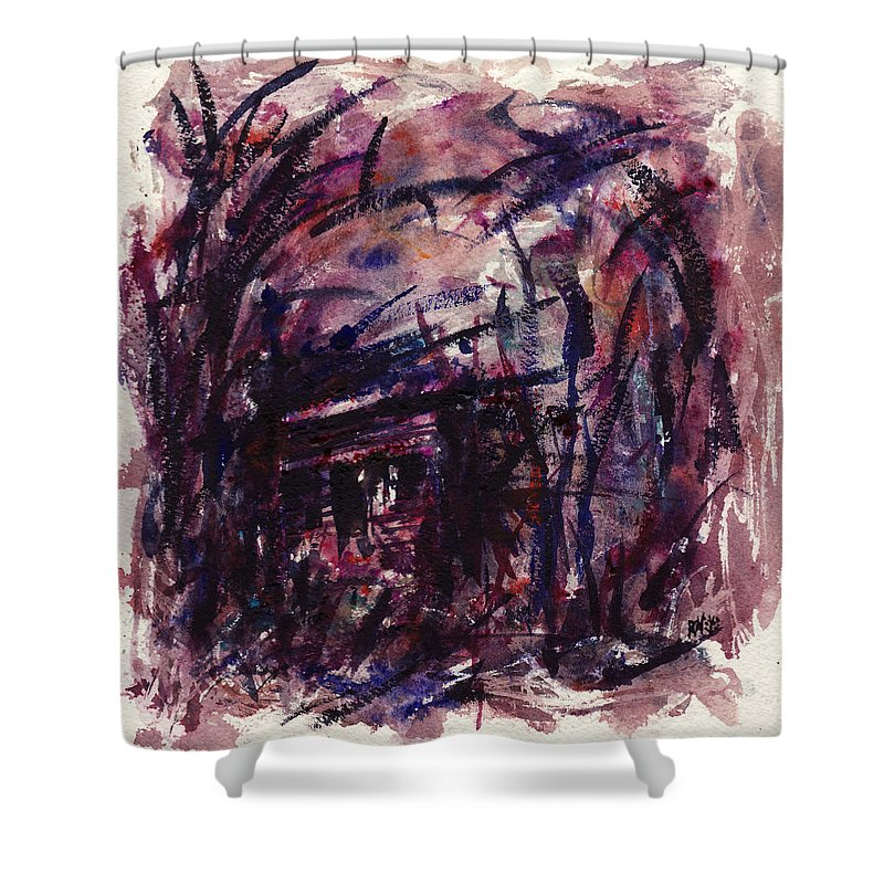 Shack Shower Curtain featuring the painting Shack Third Movement by Rachel Christine Nowicki