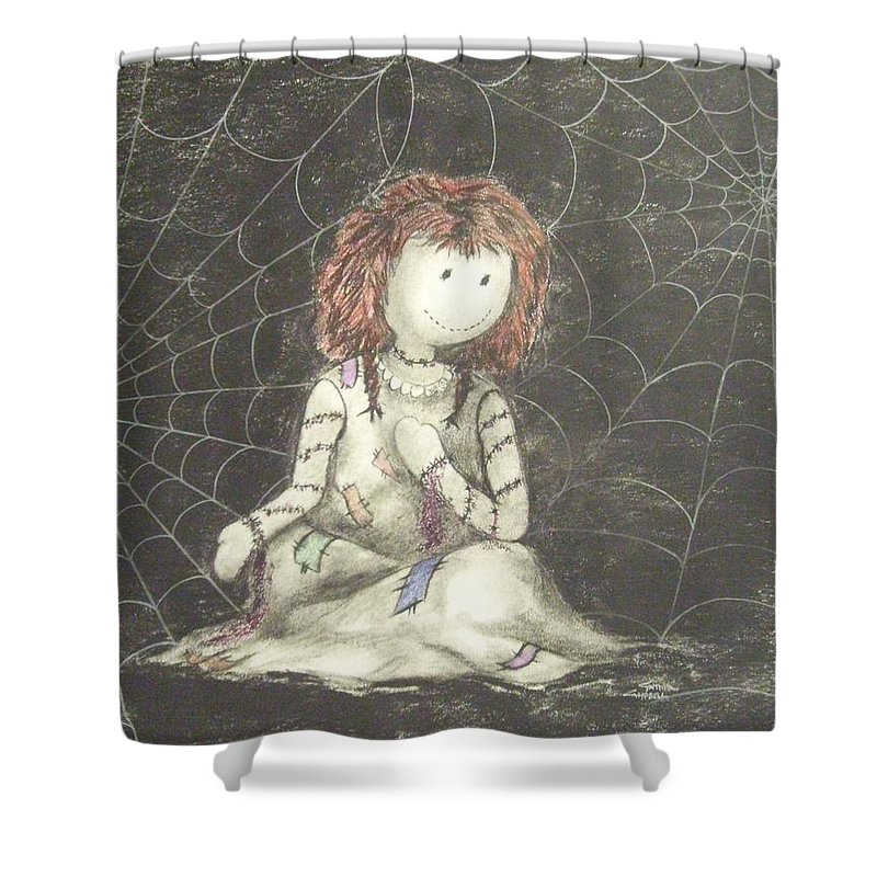 Original Art Shower Curtain featuring the drawing Shade Of Grasping by Cynthia Campbell