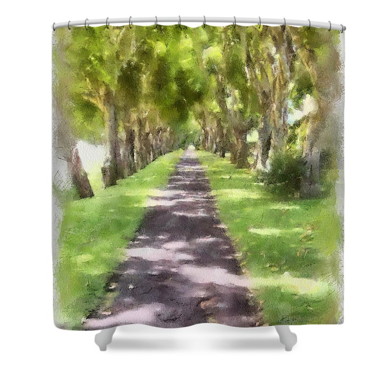 Kauai Shower Curtain featuring the painting Shaded Walkway To Princeville Market by Paulette B Wright
